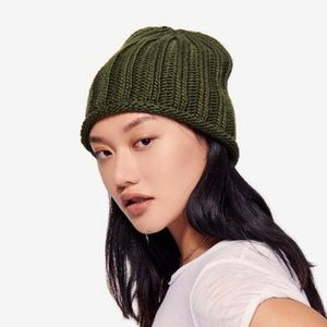 Free People Ribbed Rolled Hem Knit Beanie Hat